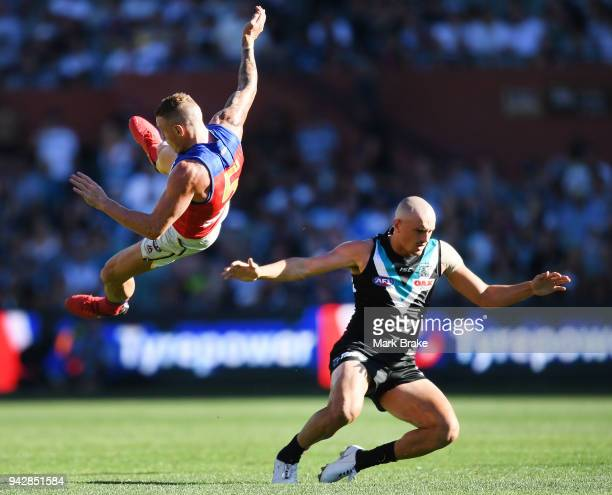 Mitch Robinson of the Lions and Sam PowellPepper of Port Adelaide collide during the round three AFL match between the Port Adelaide Power and the...