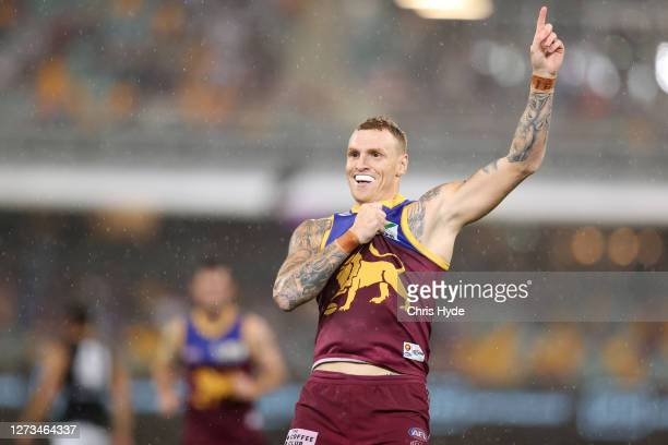Mitch Robinson of the Lions celebrates a goal during the round 18 AFL match between the Brisbane Lions and the Carlton Blues at The Gabba on...
