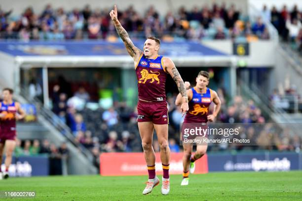 Mitch Robinson of the Lions celebrates kicking a goal during the round 20 AFL match between the Brisbane Lions and the Western Bulldogs at The Gabba...