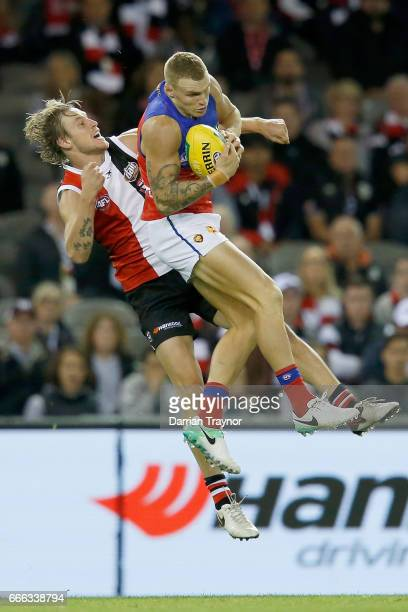Mitch Robinson of the Lions marks the ball during the round three AFL match between the St Kilda Saints and the Brisbane Lions at Etihad Stadium on...