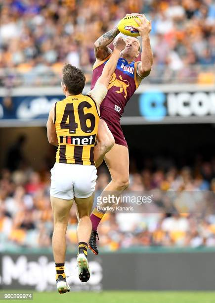 Mitch Robinson of the Lions takes a mark during the round nine AFL match between the Brisbane Lions and the Hawthorn Hawks at The Gabba on May 20...