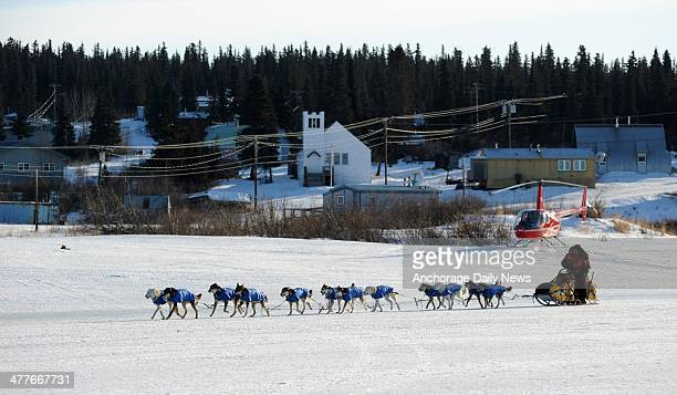 Mitch Seavey arrives at the White Mountain Alaska checkpoint during the Iditarod Trail Sled Dog Race on Monday March 10 2014