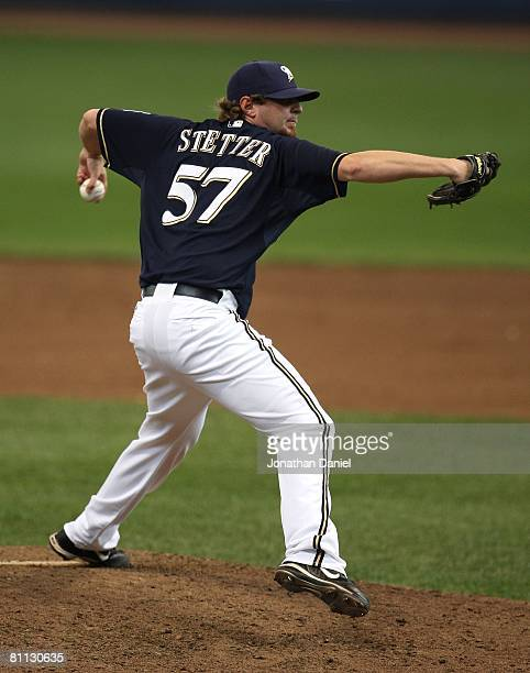 Mitch Stetter of the Milwaukee Brewers throws the ball against the Los Angeles Dodgers on May 15, 2008 at Miller Park in Milwaukee, Wisconsin. The...