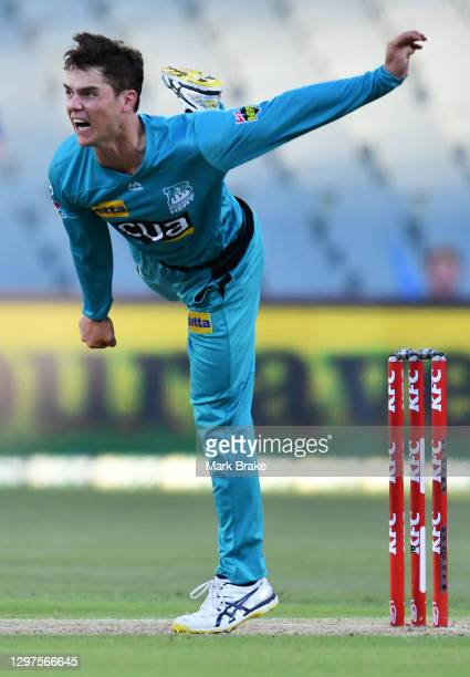 Mitch Swepson of the Heat bowls during the Big Bash League match between the Adelaide Strikers and the Brisbane Heat at Adelaide Oval, on January 21...