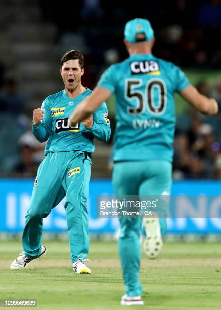 Mitch Swepson of the Heat celebrates after claiming the wicket of Alex Ross of the Thunder during the Big Bash League match between the Sydney...