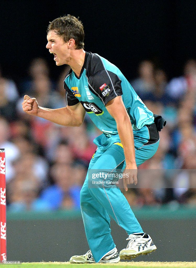 Mitch Swepson of the Heat celebrates taking the wicket of Sam Billings of the Sixers during the Big Bash League match between the Brisbane Heat and Sydney Sixers at The Gabba on January 3, 2017 in Brisbane, Australia.