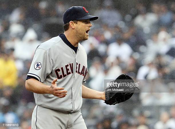 Mitch Talbot of the Cleveland Indians reacts after being thrown out of the game in the sixth inning after hitting Alex Rodriguez of the New York...