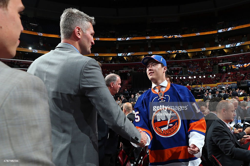 Mitch Vande Sompel reacts after being selected 82nd overall by the New York Islanders during the 2015 NHL Draft at BB&T Center on June 27, 2015 in Sunrise, Florida.