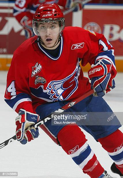 Mitch Wahl of the Spokane Chiefs skates against the Kitchener Rangers in the Memorial Cup Championship game on May 25 2008 at the Kitchener Memorial...
