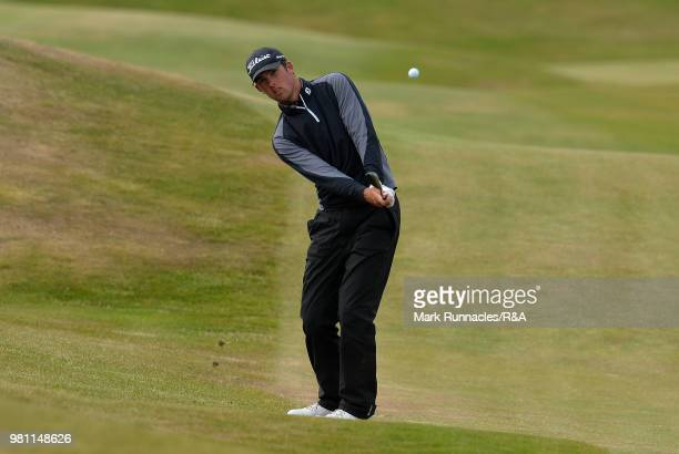 Robin Dawson of Tramore plays his tee shot at the 16th hole during the Semi final of The Amateur Championship at Royal Aberdeen on June 22 2018 in...