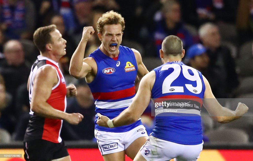 Mitch Wallis of the Bulldogs celebrates after kicking a goal during the round 20 AFL match between the St Kilda Saints and the Western Bulldogs at Etihad Stadium on August 4, 2018 in Melbourne, Australia.