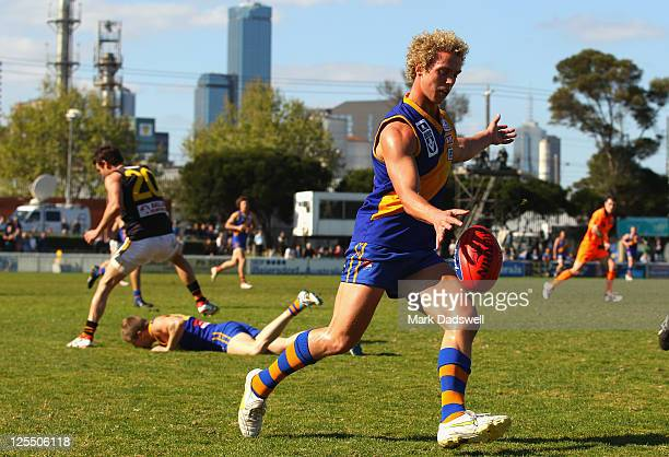 Mitch Wallis of the Seagulls passes to a teammate during the VFL preliminary Final match between Williamstown and Werribee at Teac Oval on September...