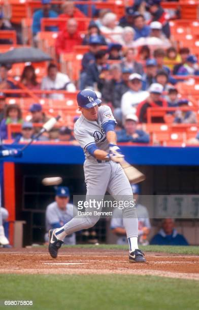 Mitch Webster of the Los Angeles Dodgers swings at the pitch during an MLB game against the New York Mets on May 10, 1992 at Shea Stadium in...