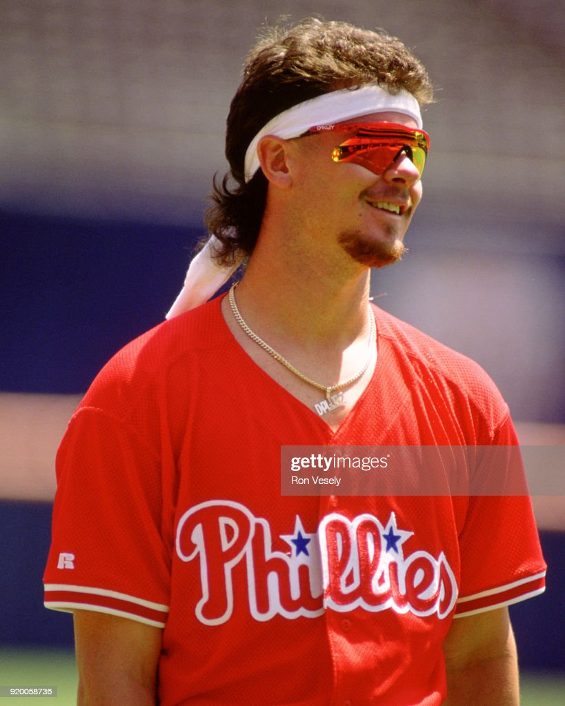 Mitch Williams of the Philadelphia Phillies looks on during an MLB game at Veterans Stadium in Philadelphia, Pennsylvania during the 1993 season.