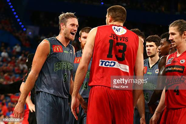 Mitch Young of the Crocodiles and Tom Jervis of the Wildcats exchange words during the round five NBL match between Perth Wildcats and Townsville...