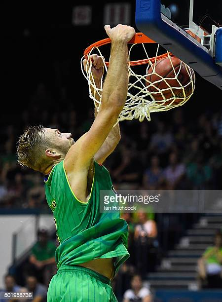 Mitch Young of the Crocodiles makes a slam dunk during the round 11 NBL match between the Townsville Crocodiles and the Perth Wildcats on December 19...