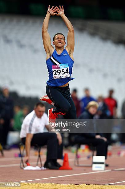 Mitchel Kirby jumps in the Triple Jump during day one of the BUCS Visa Athletics Championships 2012 LOCOG Test Event for London 2012 at Olympic...