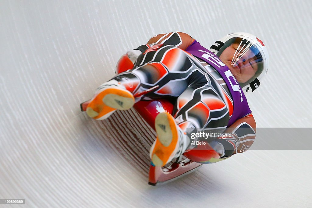 Mitchel Malyk of Canada makes a run during the men's luge training session ahead of the Sochi 2014 Winter Olympics at the Sanki Sliding Center on February 5, 2014 in Sochi, Russia.