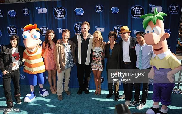 Mitchel Musso Alyson Stoner Dee Bradley Baker Dan Povenmire Ashley Tisdale Vincent Martella Swampy Marsh and Maulik Pancholy attend the premiere of...