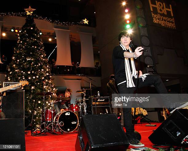 Mitchel Musso performs at the 'Holiday Of Hope' TreeLighting Celebration And Benefit at Hollywood Highland Courtyard on November 28 2009 in Hollywood...