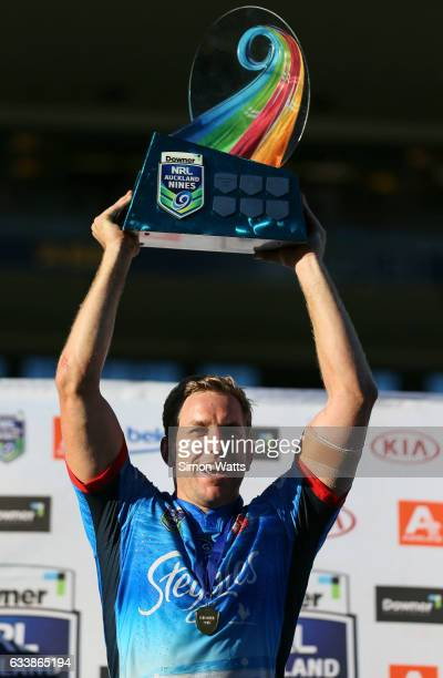 Mitchell Aubusson of the Roosters celebrates winning the 2017 Auckland Nines final between The Sydney Roosters and Penrith Panthers at Eden Park on...