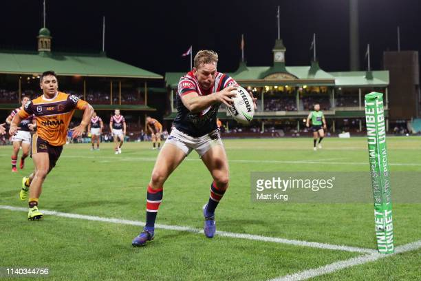 Mitchell Aubusson of the Roosters scores a try during the round four NRL match between the Sydney Roosters and the Brisbane Broncos at Sydney Cricket...