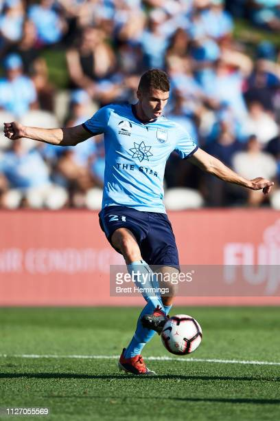 Mitchell Austin of Sydney controls the ball during the round 17 ALeague match between Sydney FC and Melbourne City at WIN Jubilee Stadium on February...
