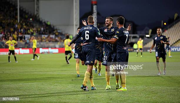 Mitchell Austin of the Central Coast Mariners celebrates his goal with teammates during the round 17 ALeague match between the Wellington Phoenix and...