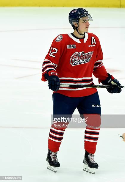 Mitchell Brewer of the Oshawa Generals skates against the Mississauga Steelheads during game action on October 25 2019 at Paramount Fine Foods Centre...