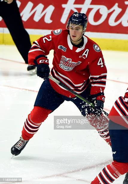 Mitchell Brewer of the Oshawa Generals skates against the Mississauga Steelheads during game action on October 25, 2019 at Paramount Fine Foods...