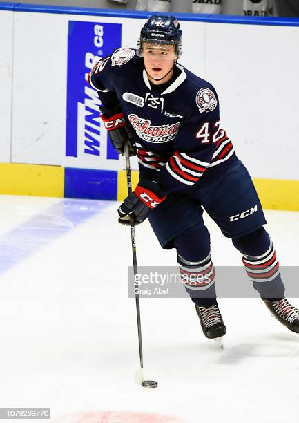 Mitchell Brewer of the Oshawa Generals skates in warmup prior to a game against the Mississauga Steelheads on December 7 2018 at Paramount Fine Foods...