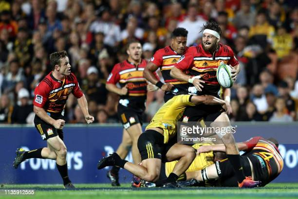 Mitchell Brown of the Chiefs makes a break during the round five Super Rugby match between the Chiefs and the Hurricanes at FMG Stadium Waikato on...