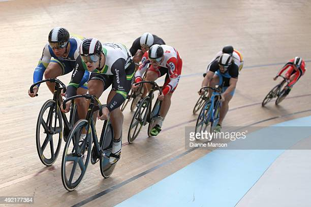 Mitchell Bullen and Matthew Glaetzer of Australia out front in the Elite Men Keirin Heats during the Oceania Track Cycling Championships on October...