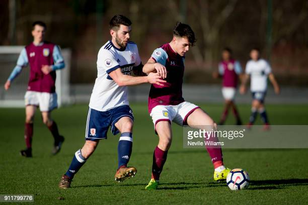 Mitchell Clark of Aston Villa during the Premier League 2 match between Aston Villa and Middlesbrough at Bodymoor Heath on January 29 2018 in...