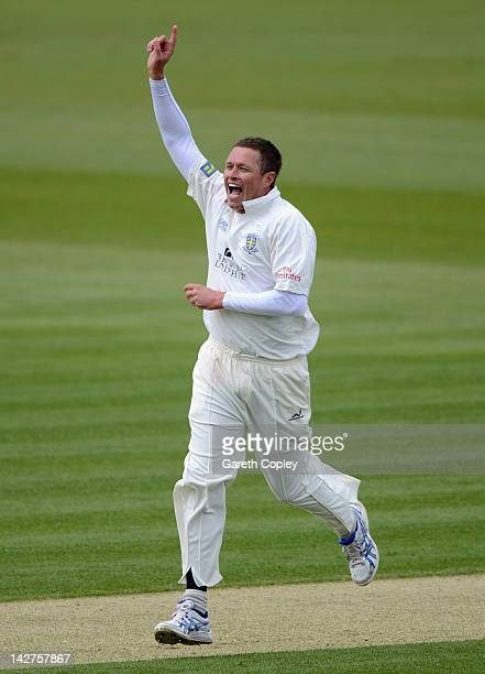 Mitchell Claydon of Durham celebrates dismissing Samit Patel of Nottinghamshire during day one of the LV County Championship division one match...