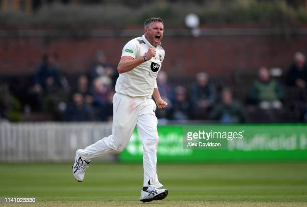 Mitchell Claydon of Kent celebrates the wicket of Steve Davies during Day 3 of the Specsavers County Championship Division One match between Somerset...