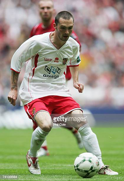Mitchell Cole of Stevenage Borough in action during the FA Trophy Final match between Kidderminster Harriers and Stevenage Borough at Wembley Stadium...