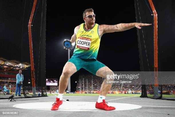 Mitchell Cooper of Australia competes during the Men's Discus final during athletics on day nine of the Gold Coast 2018 Commonwealth Games at Carrara...