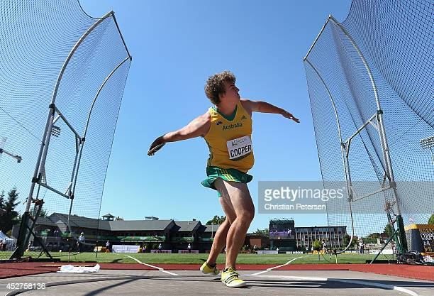 Mitchell Cooper of Australia competes in the men's discus throw final during the final of the men's discus on day five of the IAAF World Junior...