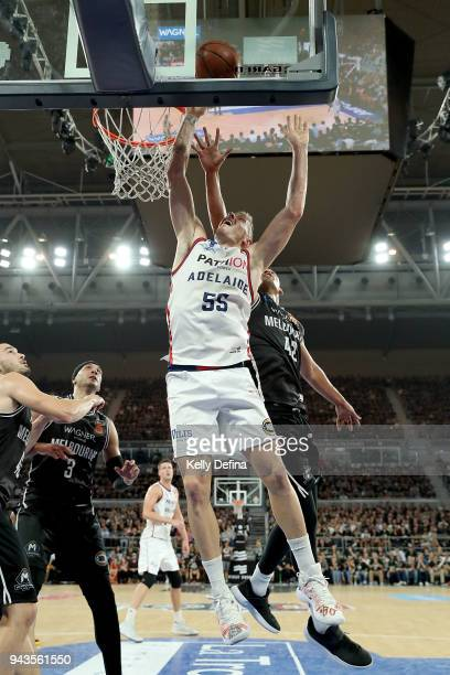 Mitchell Creek of the Adelaide 36ers drives to the basket during game five of the NBL Grand Final series between Melbourne United and the Adelaide...