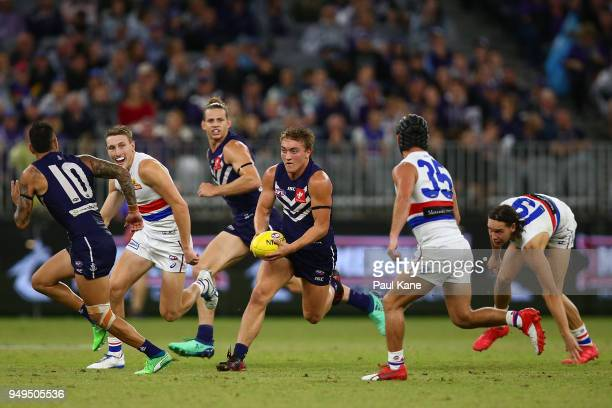 Mitchell Crowden looks to pass the ball during the round five AFL match between the Fremantle Dockers and the Western Bulldogs at Optus Stadium on...