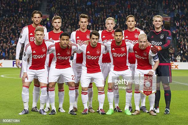 Mitchell Dijks of Ajax Joel Veltman of Ajax Arek Milik of Ajax Donny van de Beek of Ajax Nemanja Gudelj of Ajax goalkeeper Jasper Cillessen of Ajax...