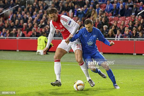 Mitchell Dijks of Ajax Martin Linnes of Molde FK during the UEFA Europa League match between Ajax Amsterdam and Molde FK on December 10 2015 at the...