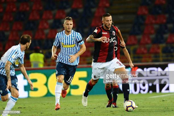 Mitchell Dijks of Bologna FC in action during the serie A match between Bologna FC and SPAL at Stadio Renato Dall'Ara on August 19 2018 in Bologna...