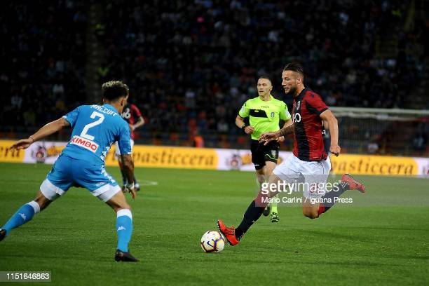 Mitchell Dijks of Bologna FC in action during the Serie A match between Bologna FC and SSC Napoli at Stadio Renato Dall'Ara on May 25 2019 in Bologna...
