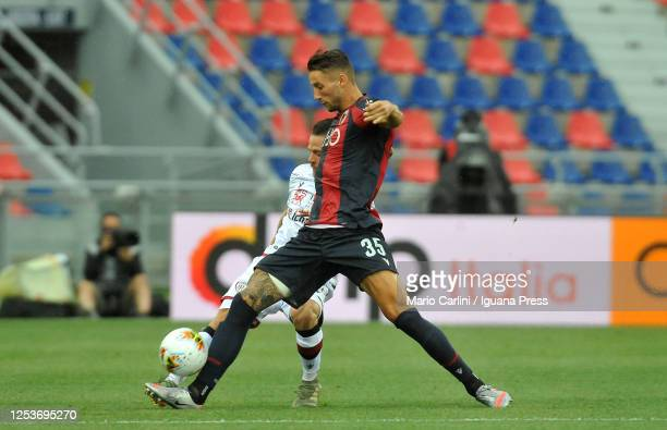 Mitchell Dijks of Bologna FC in action during the Serie A match between Bologna FC and Cagliari Calcio at Stadio Renato Dall'Ara on July 01 2020 in...