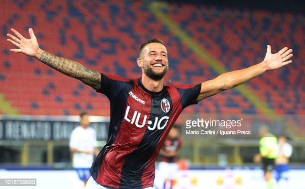 Mitchell Djiks of Bologna FC celebrates after scoring his team's second goal during the Coppa Italia match between Bologna FC and Padova at Stadio...