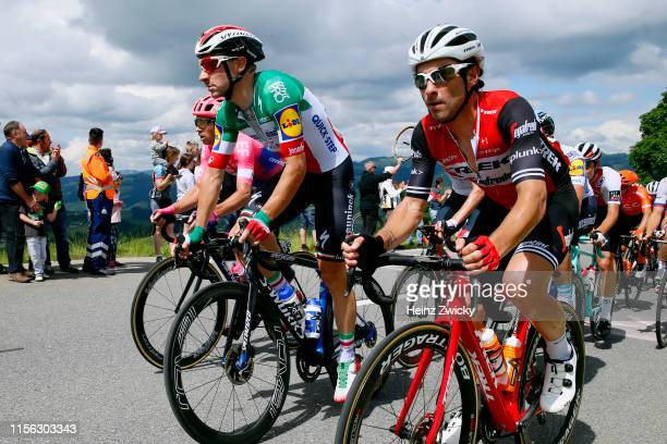 Mitchell Docker of Australia and Team EF Education First / Elia Viviani of Italy and Team Deceuninck - Quick-Step / Fabio Felline of Italy and Team...