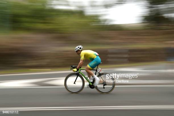 Mitchell Docker of Australia competes during the Men's Road Race on day 10 of the Gold Coast 2018 Commonwealth Games at Currumbin Beachfront on April...