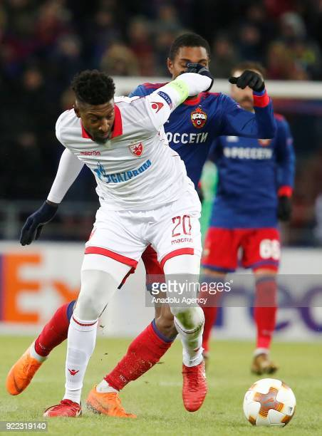 Mitchell Donald of Crvena Zvezda in action during the UEFA Europa League round of 32 second leg soccer match between CSKA Moscow and Crvena Zvezda at...